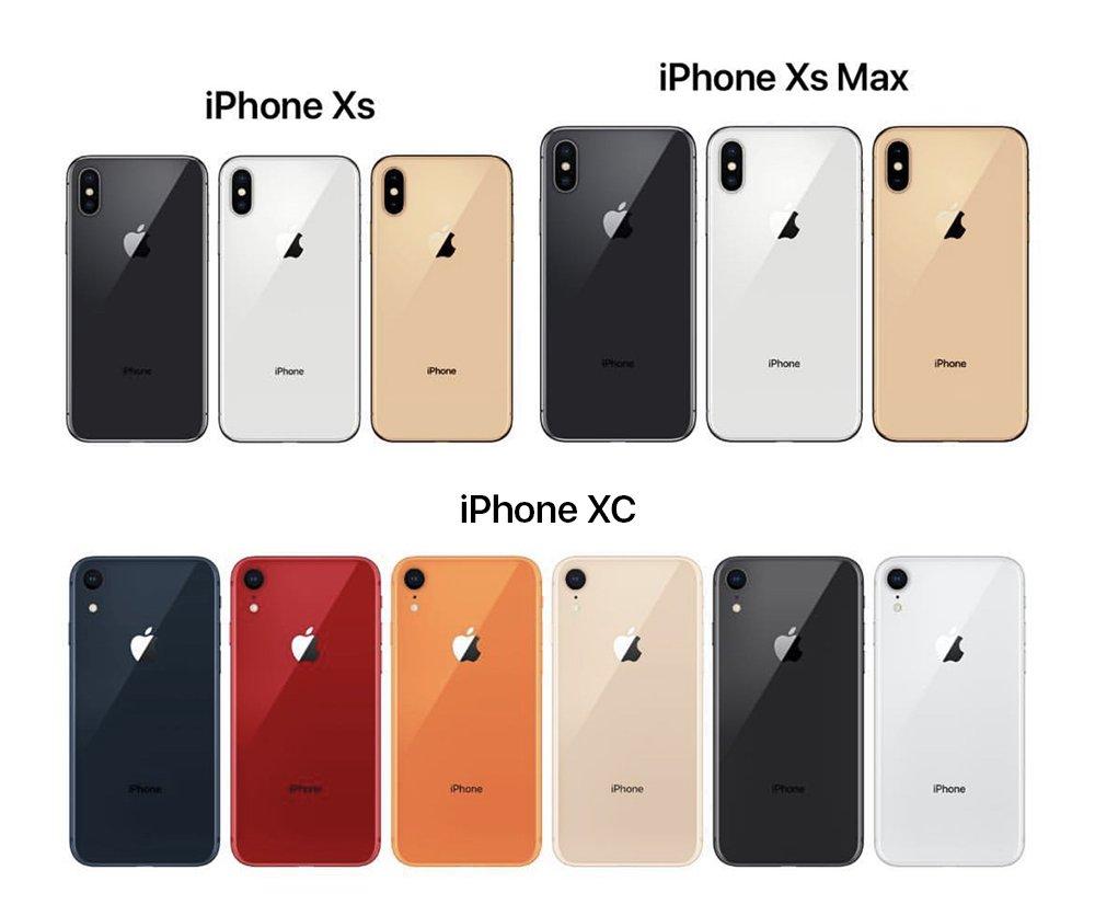 Bild och priser på iPhone XC, iPhone XS och iPhone XS Max