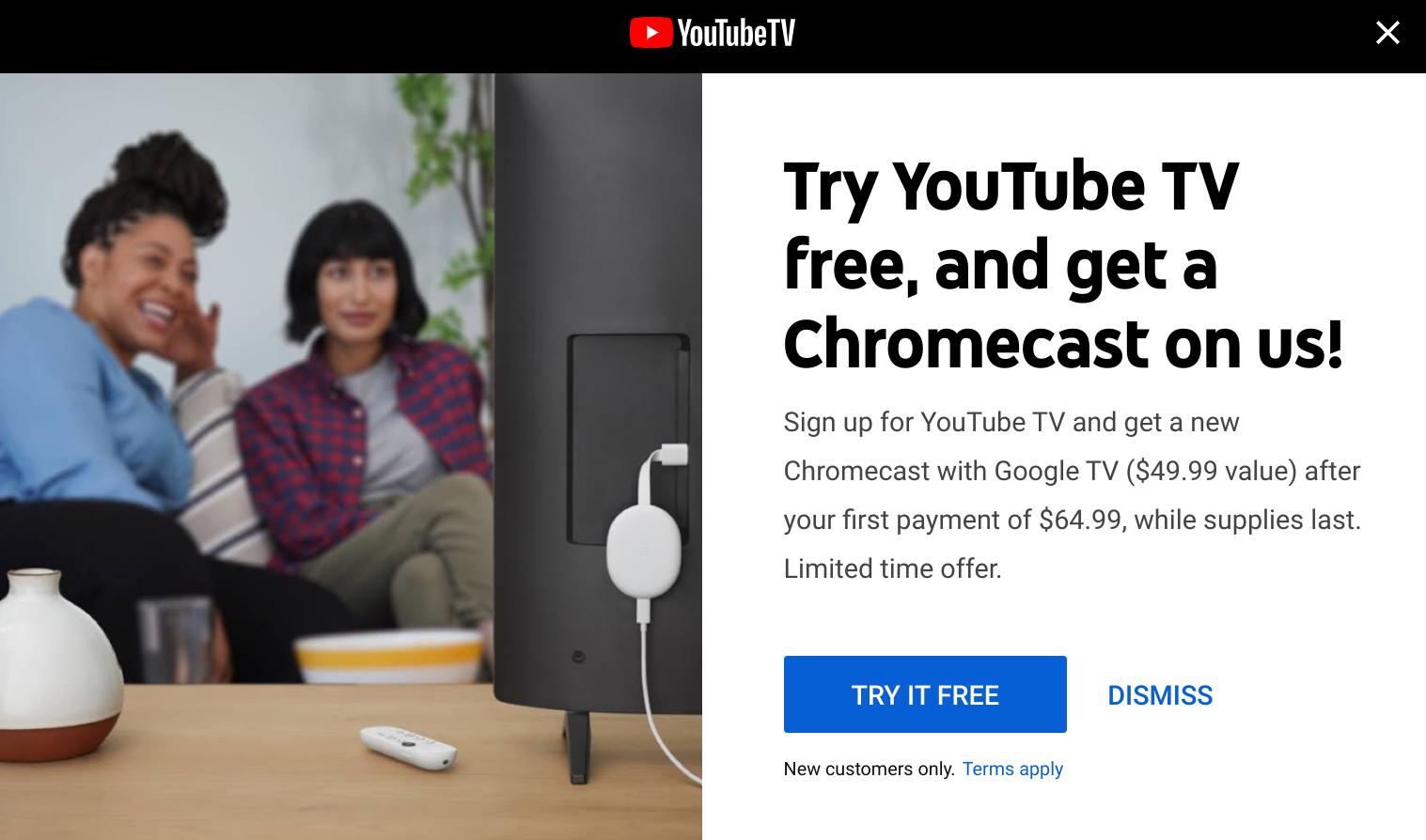 Google bjuder på en Chromecast With Google TV om du köper YouTube Premium