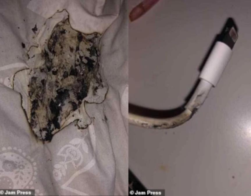 Laddare till iPhone fattade eld